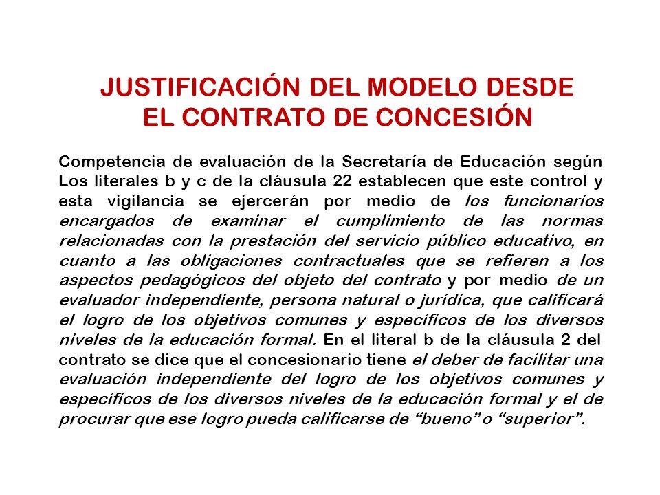 JUSTIFICACIÓN DEL MODELO DESDE EL CONTRATO DE CONCESIÓN