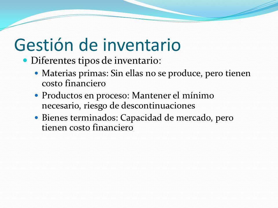 Gestión de inventario Diferentes tipos de inventario: