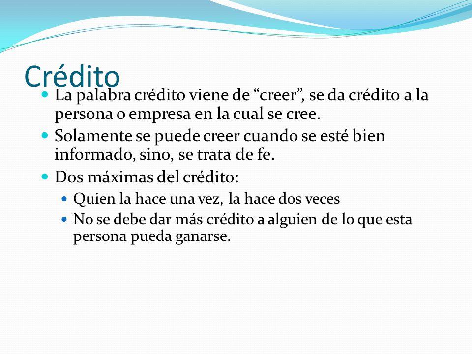 Crédito La palabra crédito viene de creer , se da crédito a la persona o empresa en la cual se cree.
