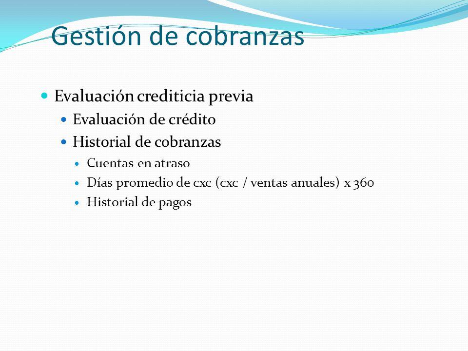 Gestión de cobranzas Evaluación crediticia previa