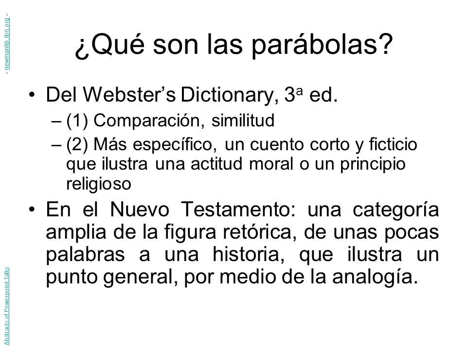 ¿Qué son las parábolas Del Webster's Dictionary, 3a ed.