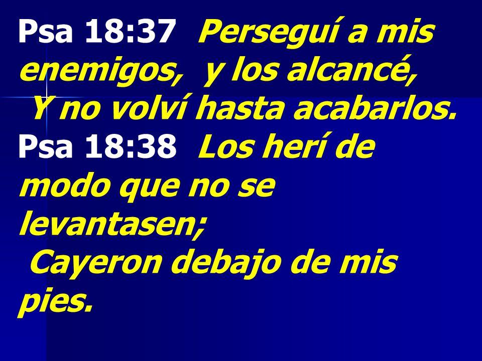 Psa 18:37 Perseguí a mis enemigos, y los alcancé,
