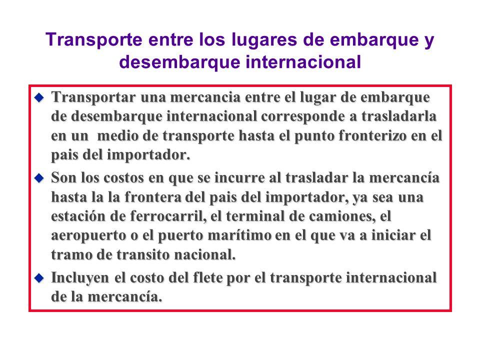 Transporte entre los lugares de embarque y desembarque internacional