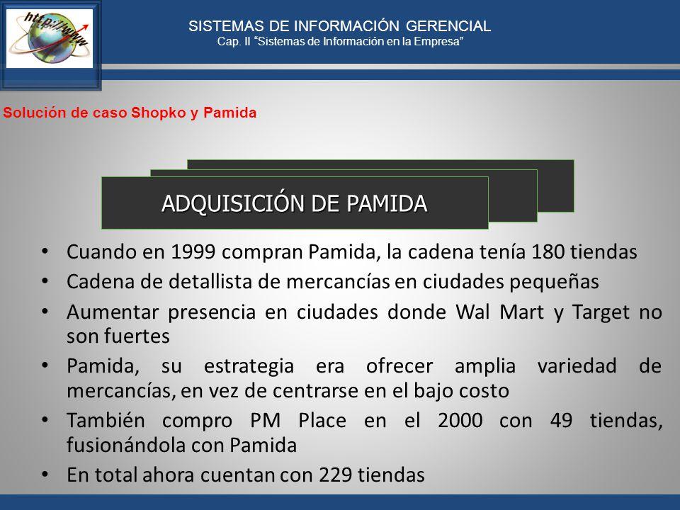 ADQUISICIÓN DE PAMIDA Cuando en 1999 compran Pamida, la cadena tenía 180 tiendas. Cadena de detallista de mercancías en ciudades pequeñas.