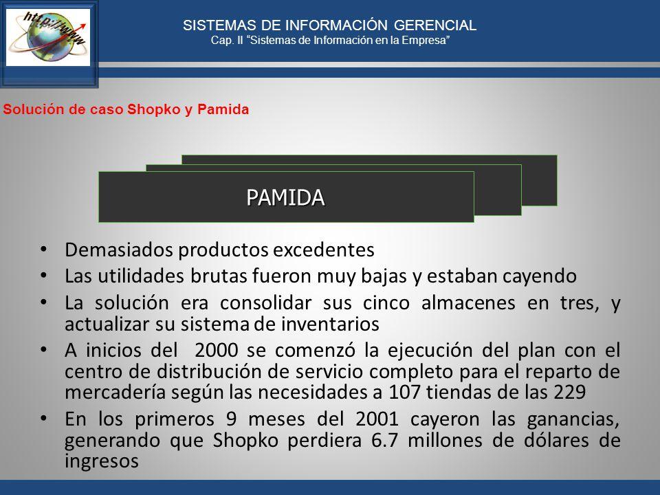 PAMIDA Demasiados productos excedentes. Las utilidades brutas fueron muy bajas y estaban cayendo.