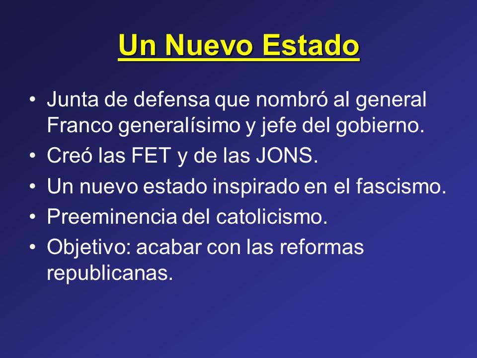 Un Nuevo Estado Junta de defensa que nombró al general Franco generalísimo y jefe del gobierno. Creó las FET y de las JONS.