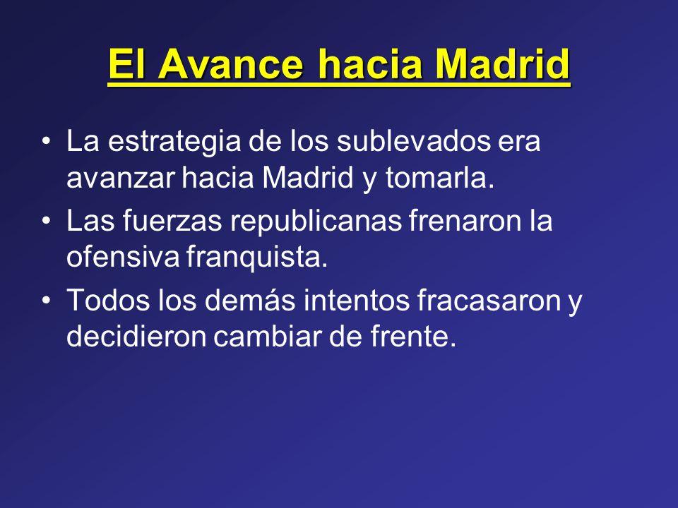 El Avance hacia Madrid La estrategia de los sublevados era avanzar hacia Madrid y tomarla. Las fuerzas republicanas frenaron la ofensiva franquista.