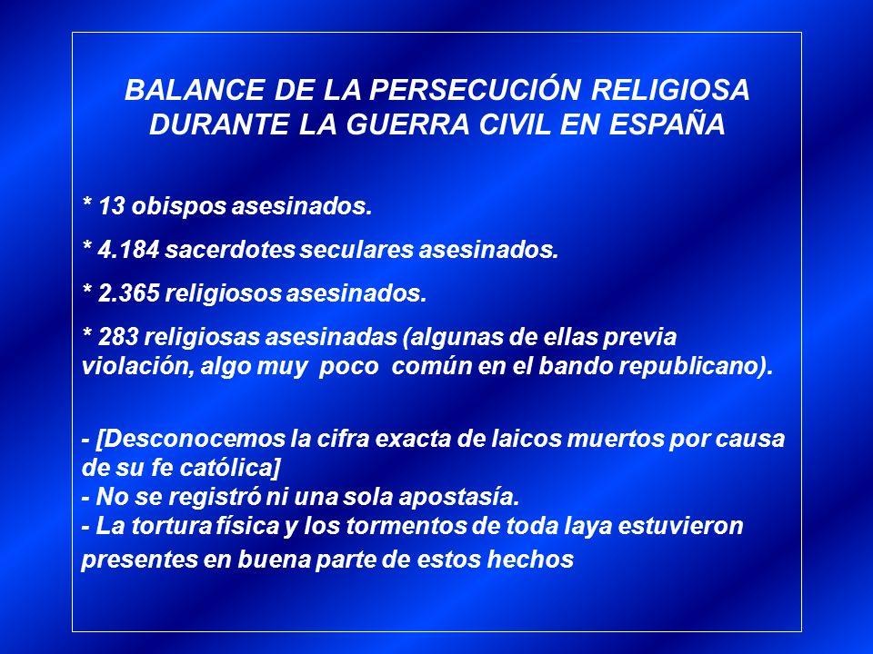 BALANCE DE LA PERSECUCIÓN RELIGIOSA DURANTE LA GUERRA CIVIL EN ESPAÑA