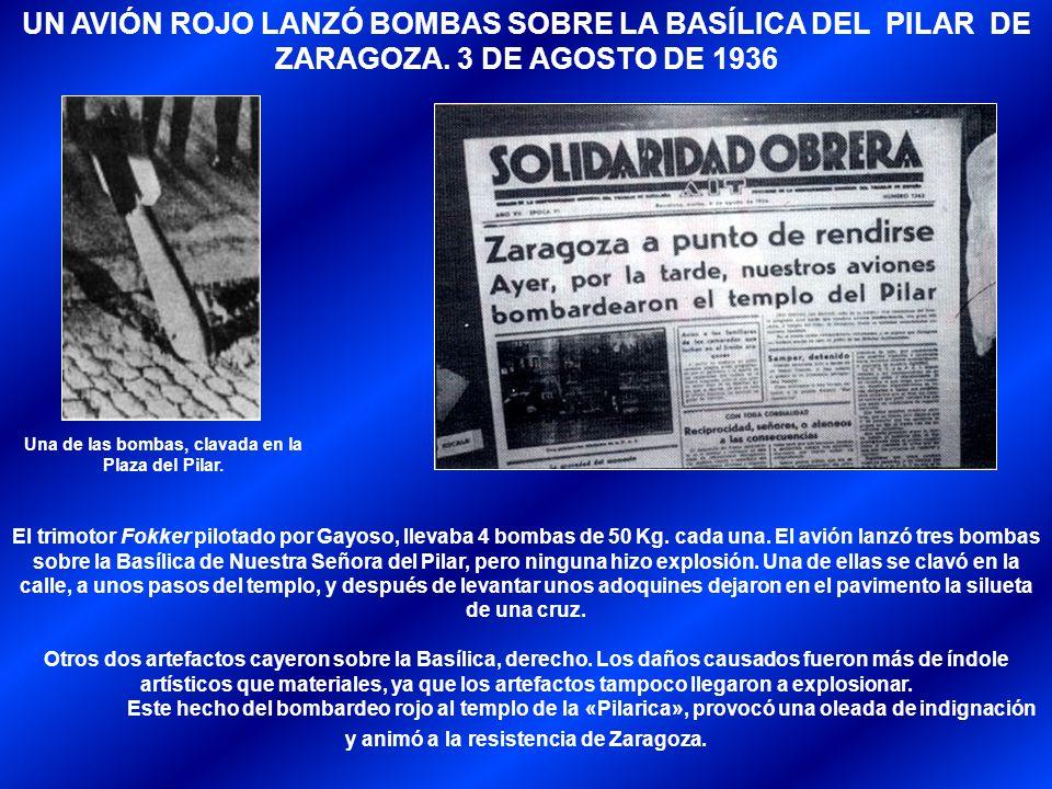 Una de las bombas, clavada en la Plaza del Pilar.
