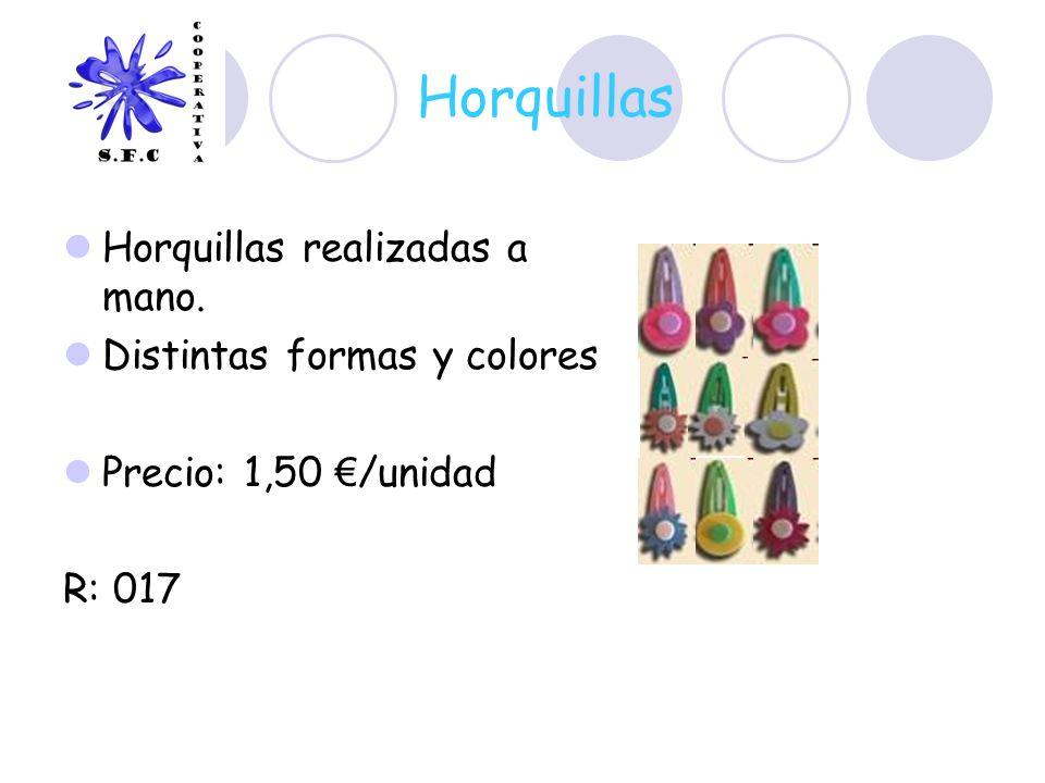 Horquillas Horquillas realizadas a mano. Distintas formas y colores