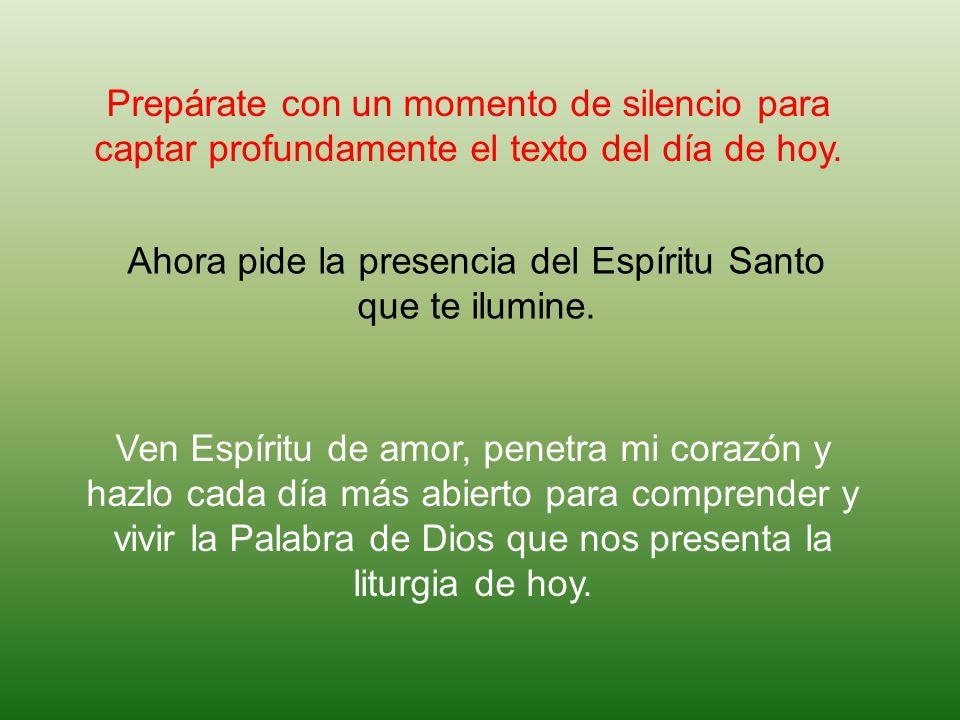 Ahora pide la presencia del Espíritu Santo que te ilumine.