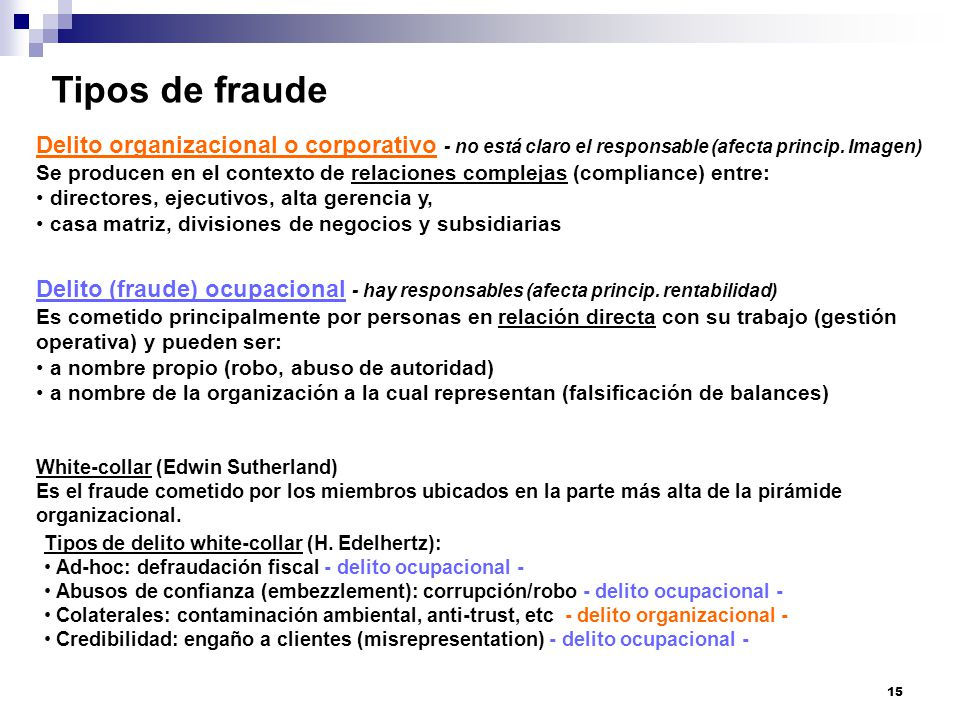 Tipos de fraude Delito organizacional o corporativo - no está claro el responsable (afecta princip. Imagen)