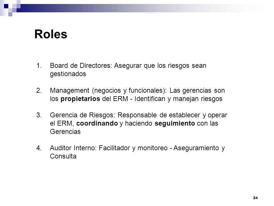 Roles Board de Directores: Asegurar que los riesgos sean gestionados