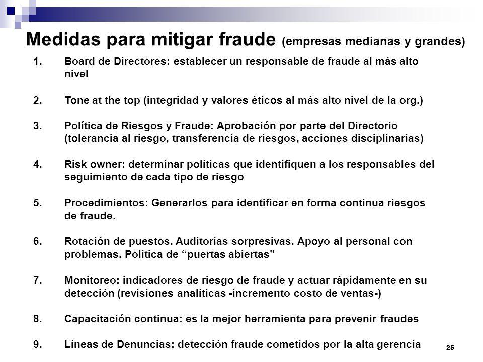 Medidas para mitigar fraude (empresas medianas y grandes)