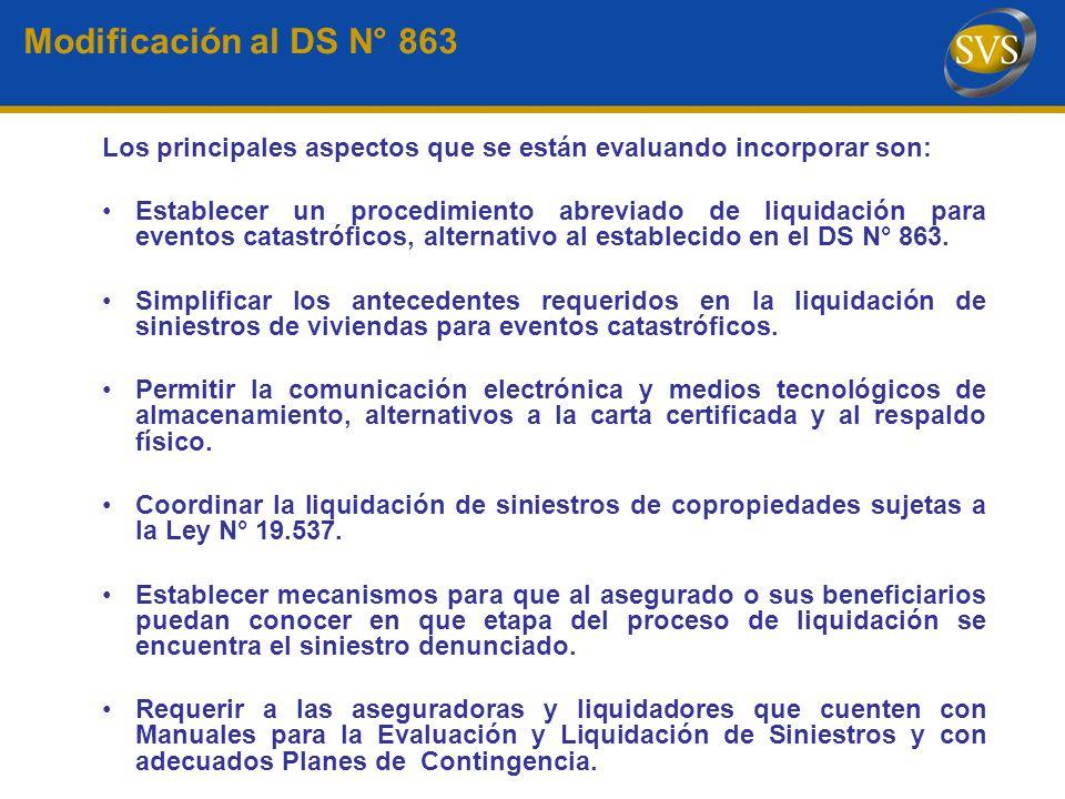 Modificación al DS N° 863 Los principales aspectos que se están evaluando incorporar son: