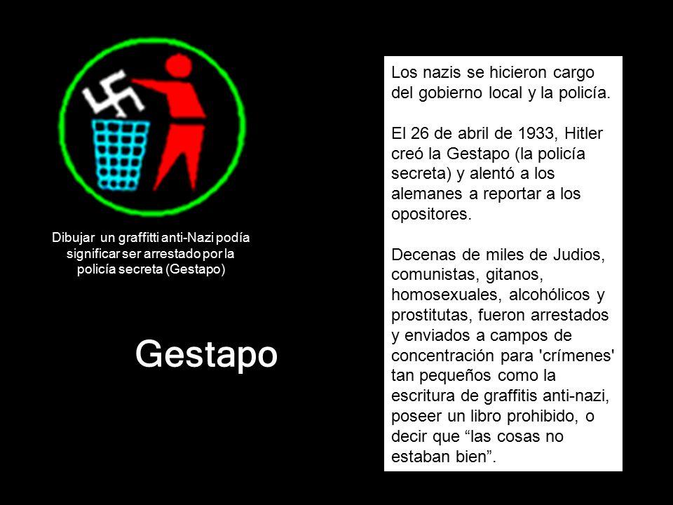 Gestapo Los nazis se hicieron cargo del gobierno local y la policía.