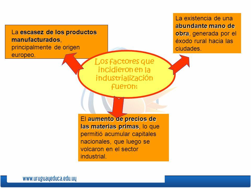 Los factores que incidieron en la industrialización fueron: