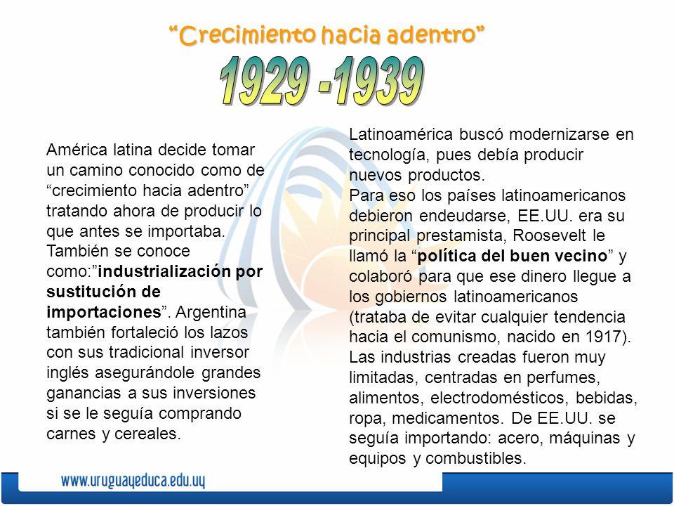 1929 -1939 Crecimiento hacia adentro