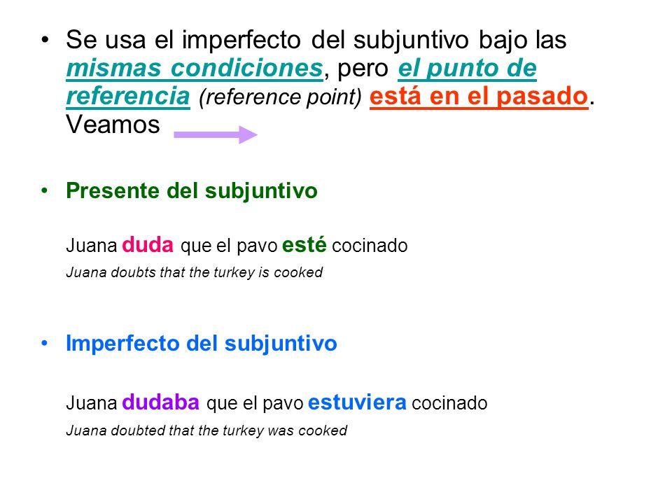 Se usa el imperfecto del subjuntivo bajo las mismas condiciones, pero el punto de referencia (reference point) está en el pasado. Veamos