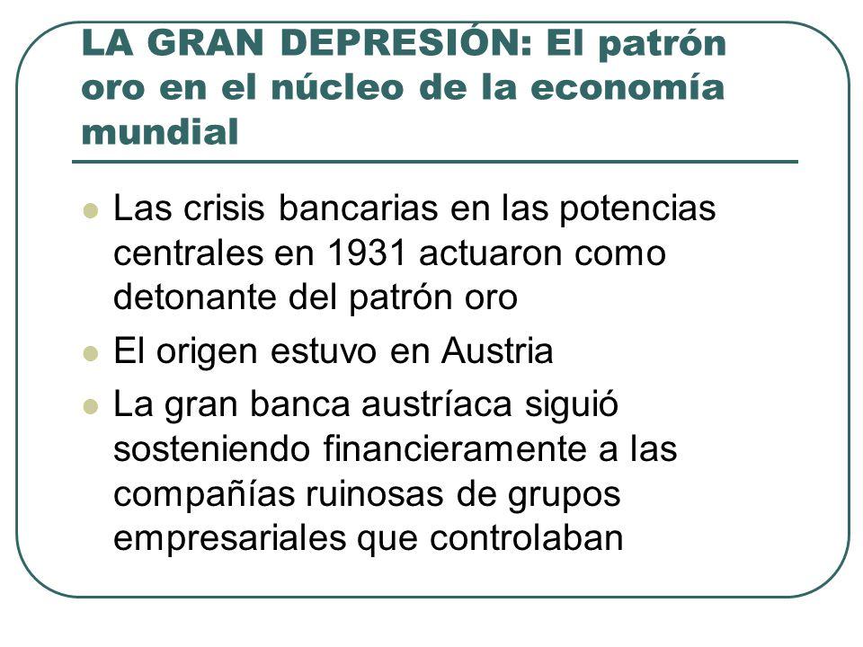 LA GRAN DEPRESIÓN: El patrón oro en el núcleo de la economía mundial