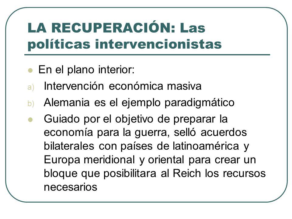 LA RECUPERACIÓN: Las políticas intervencionistas