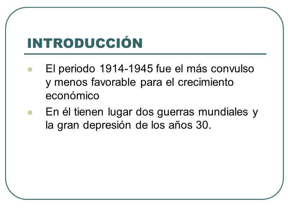 INTRODUCCIÓN El periodo 1914-1945 fue el más convulso y menos favorable para el crecimiento económico.