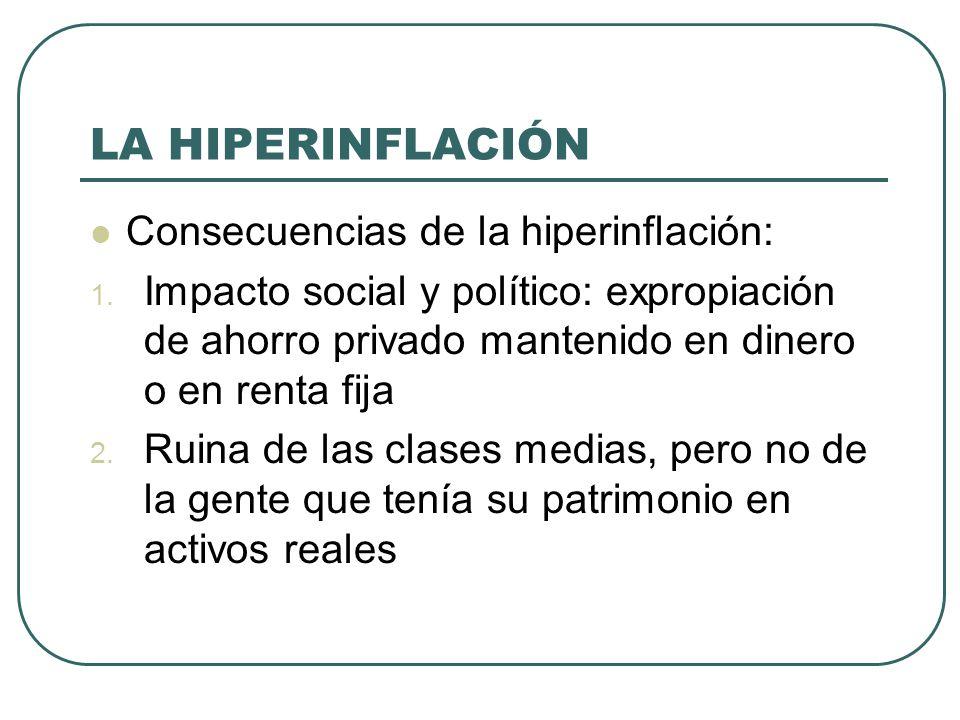LA HIPERINFLACIÓN Consecuencias de la hiperinflación: