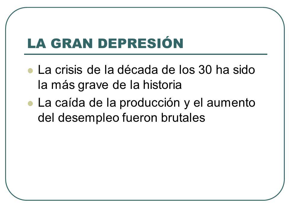 LA GRAN DEPRESIÓN La crisis de la década de los 30 ha sido la más grave de la historia.