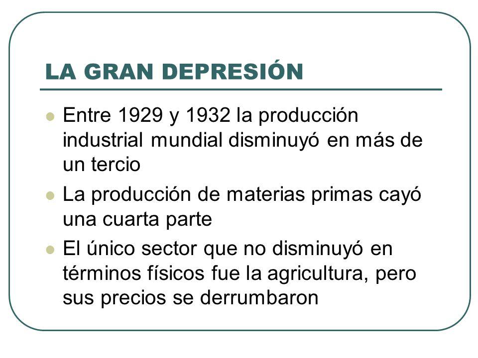 LA GRAN DEPRESIÓN Entre 1929 y 1932 la producción industrial mundial disminuyó en más de un tercio.