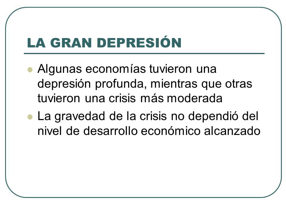LA GRAN DEPRESIÓN Algunas economías tuvieron una depresión profunda, mientras que otras tuvieron una crisis más moderada.