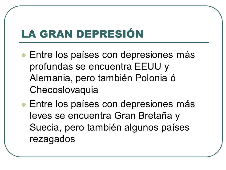 LA GRAN DEPRESIÓN Entre los países con depresiones más profundas se encuentra EEUU y Alemania, pero también Polonia ó Checoslovaquia.