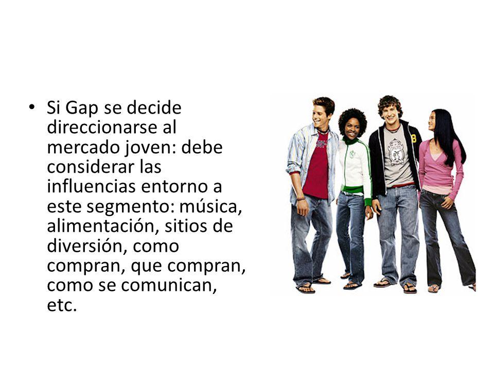 Si Gap se decide direccionarse al mercado joven: debe considerar las influencias entorno a este segmento: música, alimentación, sitios de diversión, como compran, que compran, como se comunican, etc.