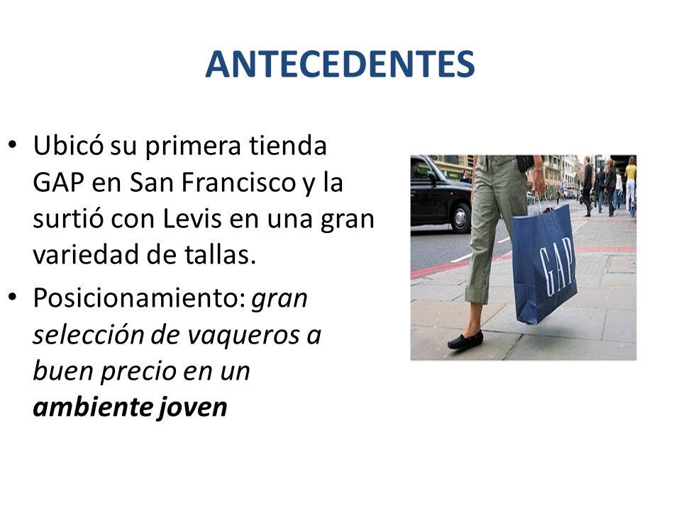 ANTECEDENTES Ubicó su primera tienda GAP en San Francisco y la surtió con Levis en una gran variedad de tallas.