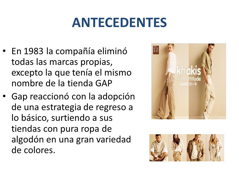 ANTECEDENTES En 1983 la compañía eliminó todas las marcas propias, excepto la que tenía el mismo nombre de la tienda GAP.