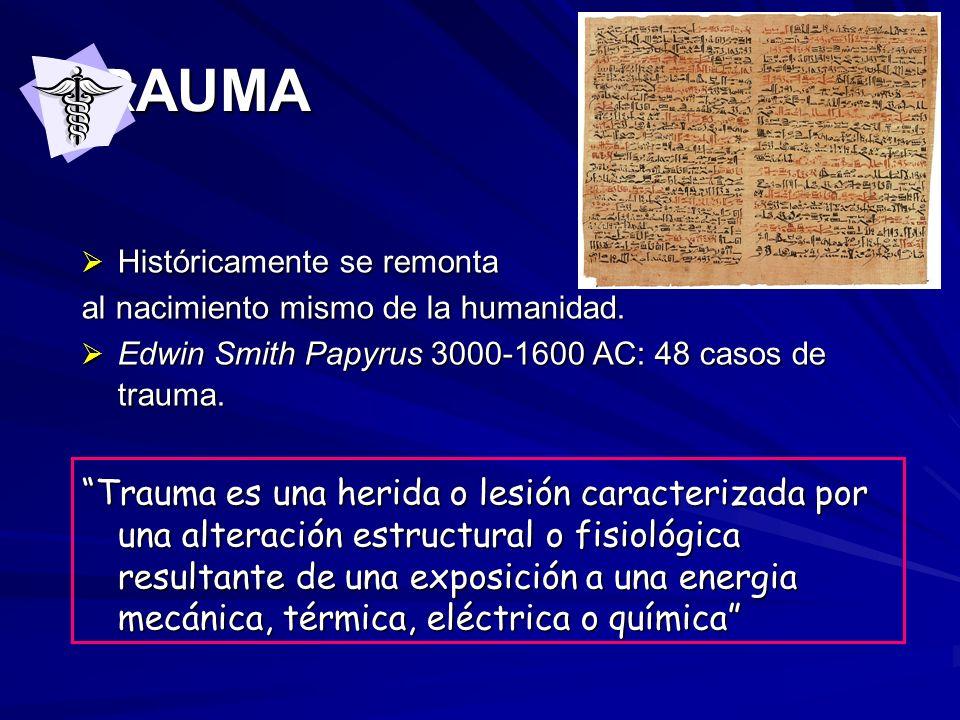 TRAUMA Históricamente se remonta. al nacimiento mismo de la humanidad. Edwin Smith Papyrus 3000-1600 AC: 48 casos de trauma.