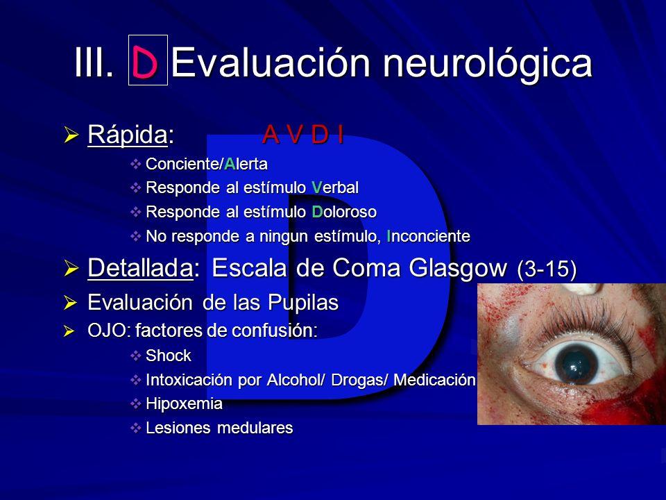 III. D Evaluación neurológica