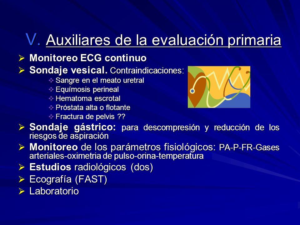 V. Auxiliares de la evaluación primaria