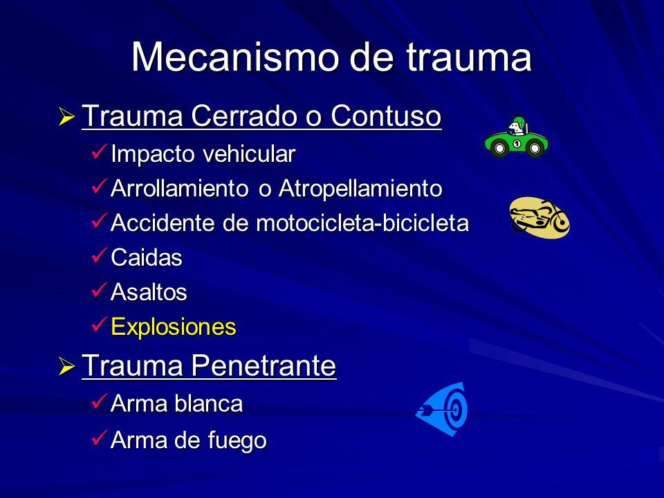 Mecanismo de trauma Trauma Cerrado o Contuso Trauma Penetrante
