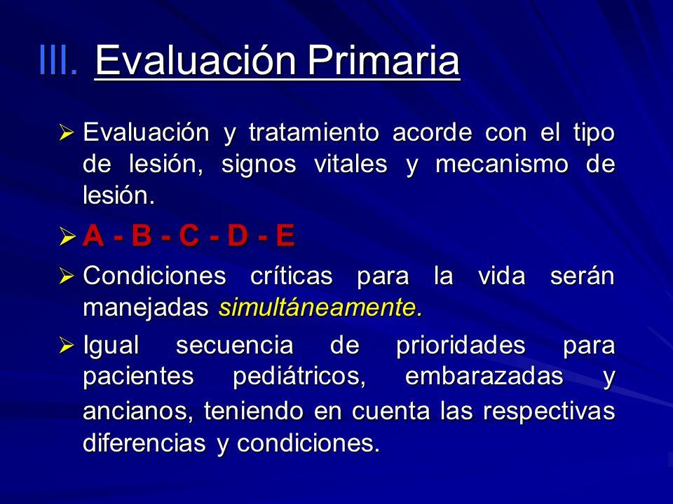 III. Evaluación Primaria