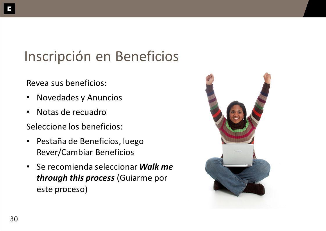 Inscripción en Beneficios