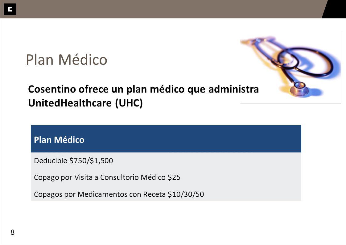 Plan MédicoCosentino ofrece un plan médico que administra UnitedHealthcare (UHC) Plan Médico. Deducible $750/$1,500.
