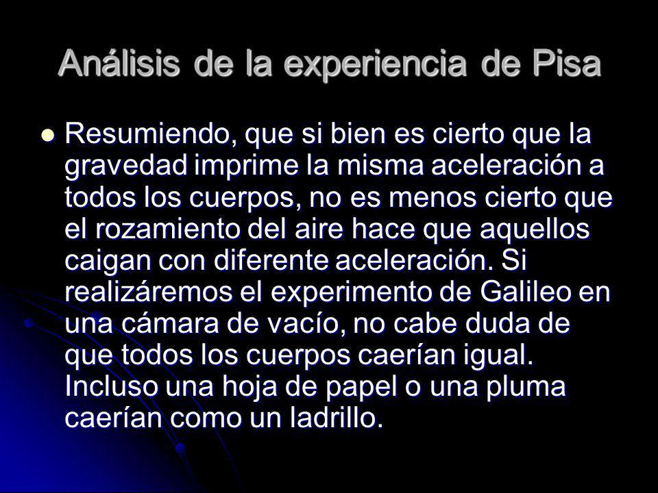 Análisis de la experiencia de Pisa