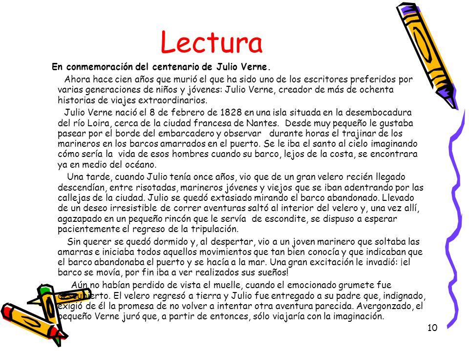 Lectura En conmemoración del centenario de Julio Verne.