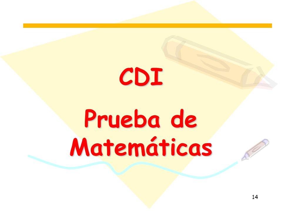CDI Prueba de Matemáticas