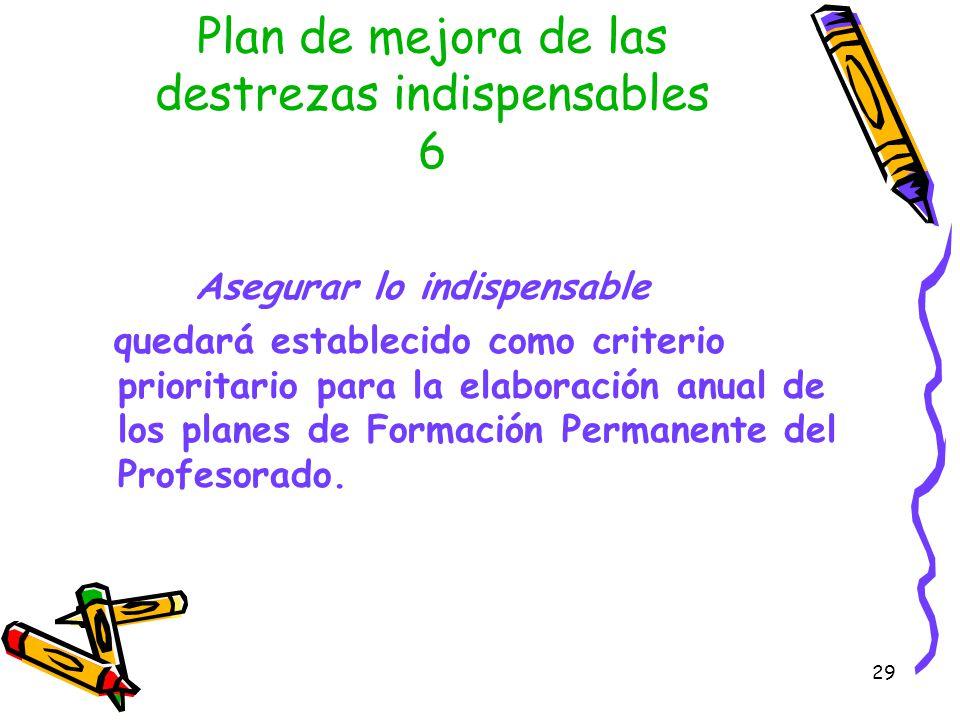 Plan de mejora de las destrezas indispensables 6