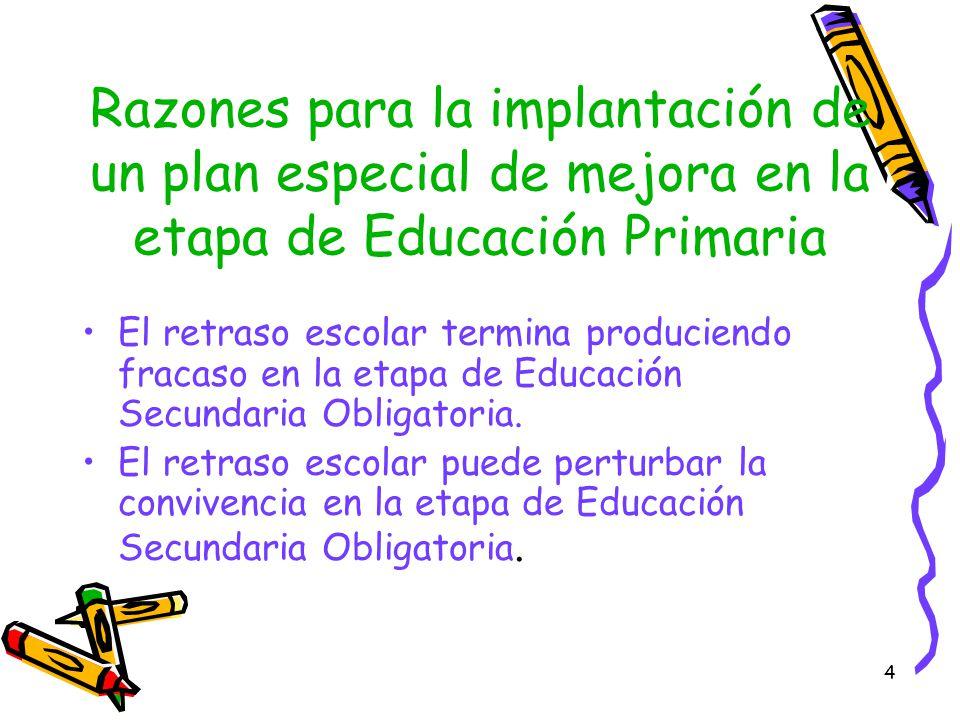 Razones para la implantación de un plan especial de mejora en la etapa de Educación Primaria