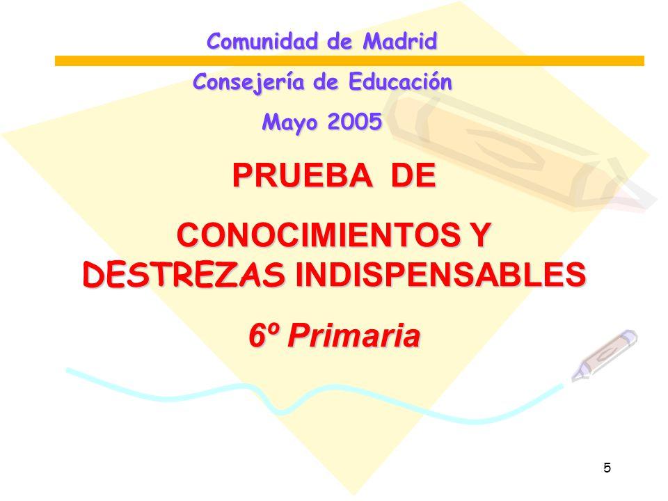 Consejería de Educación CONOCIMIENTOS Y DESTREZAS INDISPENSABLES