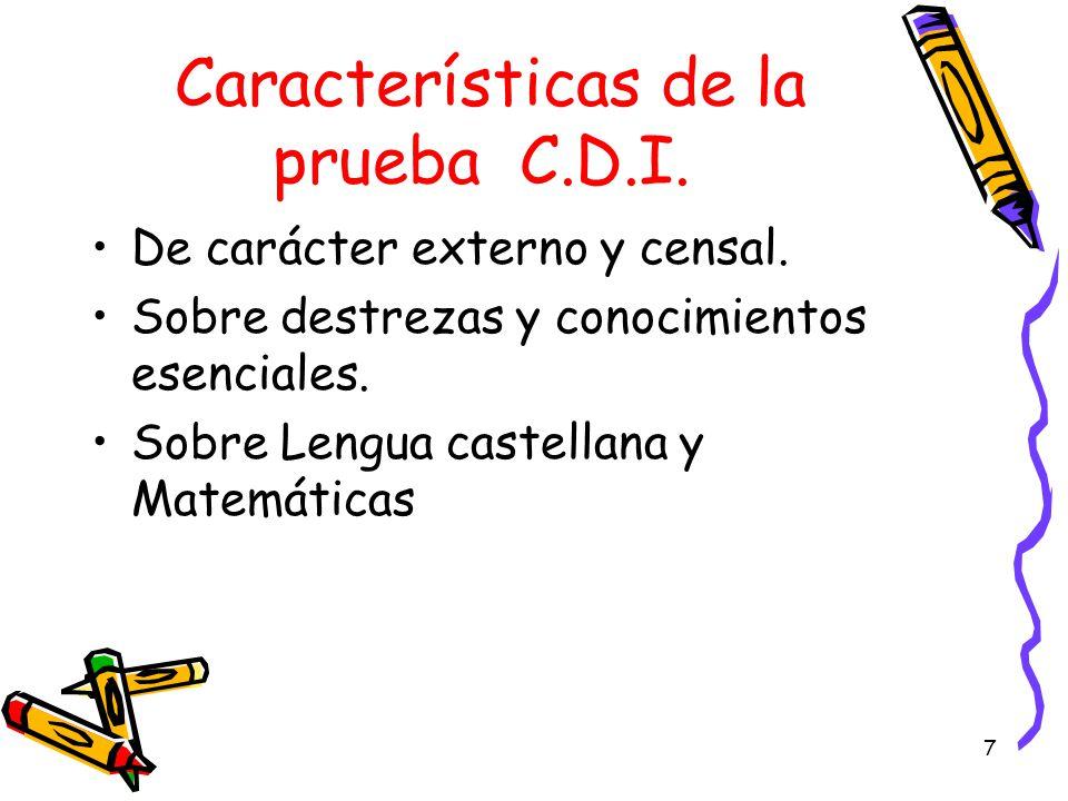 Características de la prueba C.D.I.