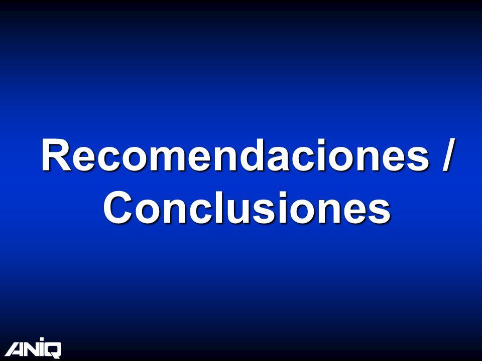 Recomendaciones / Conclusiones