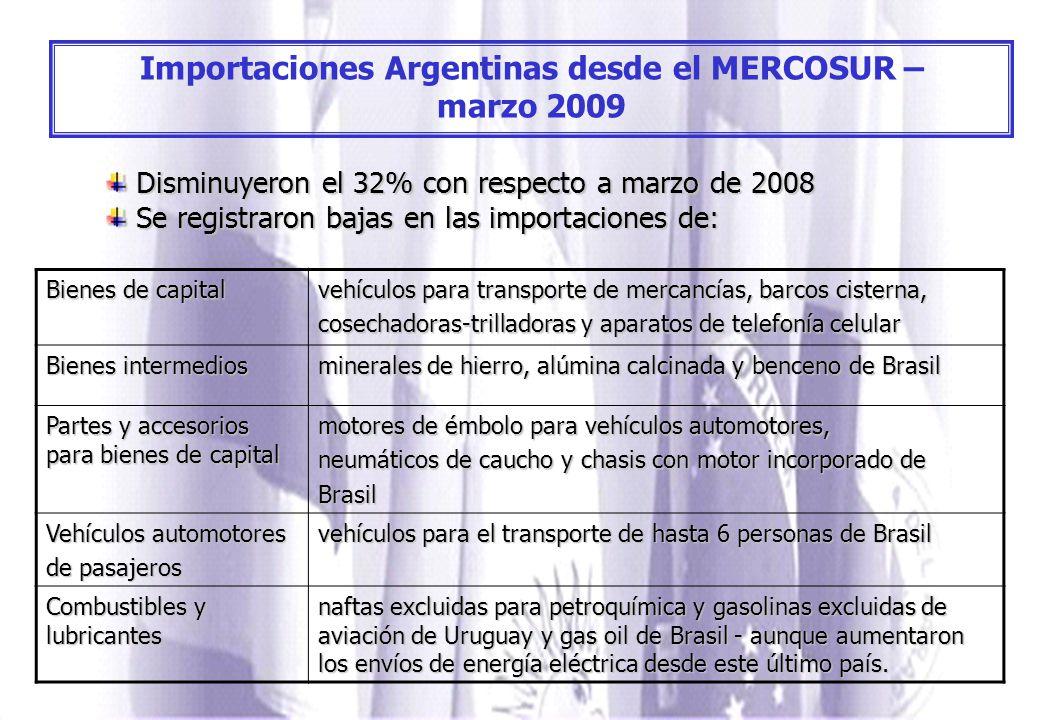Importaciones Argentinas desde el MERCOSUR – marzo 2009